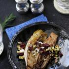 Grilled Endive with Pistachios, Dried Cherries and Feta Cheese