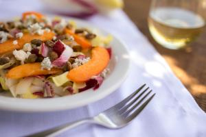 Endive Salad with Apricots, Blue Cheese and Pistachios